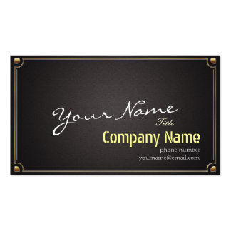 Abstract Black Linen Fabric Elegant Gold Frame Business Card