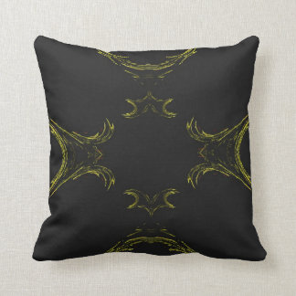Abstract Black n Gold Border Fractal Pillow