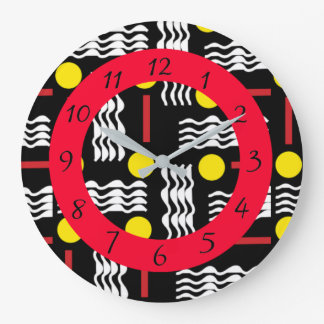 Abstract Black, Red and White Clock