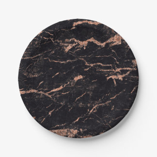 Abstract Black Rose Gold Glitter Marble Glam Vip Paper Plate