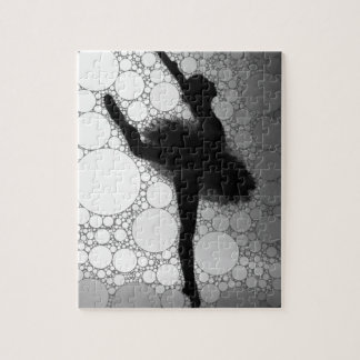 Abstract Black & White Dancing Ballerina Jigsaw Puzzle
