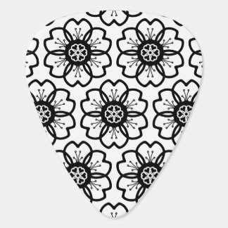 Abstract Black White Flower Doodle Heart Pattern. Guitar Pick