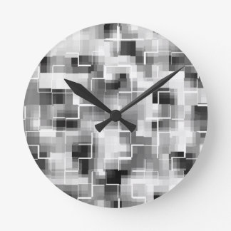 Abstract Black White Gray Round Clock