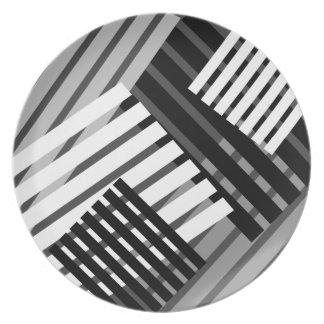 Abstract Black White Gray Stripe Pattern Plate