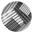 Abstract Black White Grey Stripe Pattern Plate