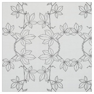 abstract black&white pattern with leaves. fabric