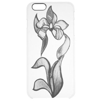 Abstract black white shine flowers clear iPhone 6 plus case