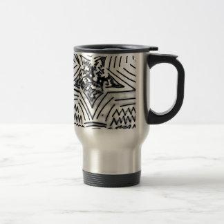 "Abstract Black/White ""Star"" 15 Oz Stainless Steel Travel Mug"
