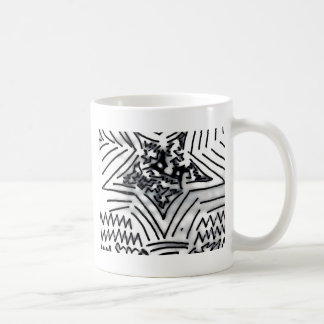 "Abstract Black/White ""Star"" Classic White Coffee Mug"