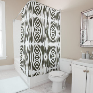 Abstract Black White Zebra Stripes Shower Curtains
