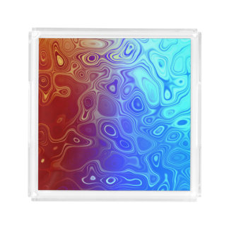Abstract Blood and Water Red and Blue Acrylic Tray