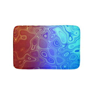 Abstract Blood and Water Red and Blue Bathroom Mat