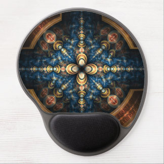 """Abstract Blue and Gold Geometric Pattern """"Portal"""" Gel Mouse Pad"""