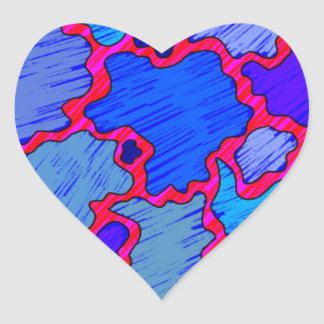 Abstract Blue and Pink Heart Sticker