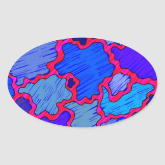 Abstract Blue and Pink Oval Sticker