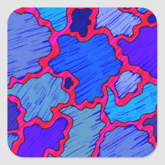 Abstract Blue and Pink Square Sticker