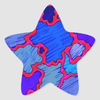 Abstract Blue and Pink Star Sticker