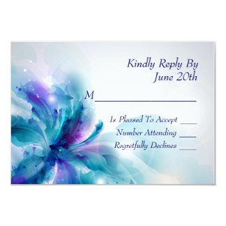 Abstract Blue and Purple Floral Design RSVP Card