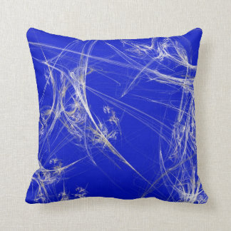 Abstract Blue and White Fractal Pillow