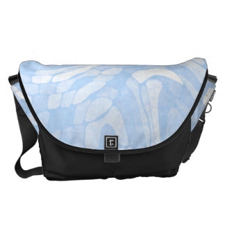 Abstract Blue and White Swirl Pattern Commuter Bags
