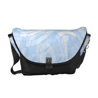 Abstract Blue and White Swirl Pattern Messenger Bag