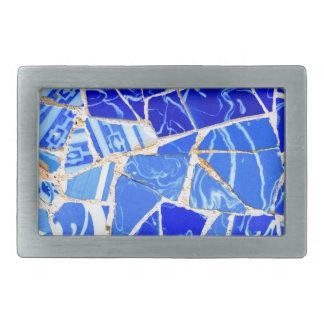 Abstract blue background rectangular belt buckle