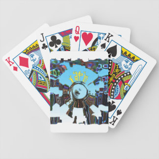 Abstract Blue Bicycle Playing Cards