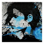 Abstract  Blue Black White Girl Watercolor Art