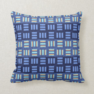 Abstract Blue Checkers Throw Pillow