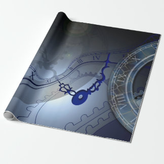 Abstract Blue Clock Design Wrapping Paper