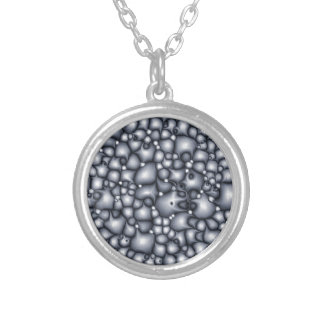 Abstract Blue Clusters Silver Plated Necklace