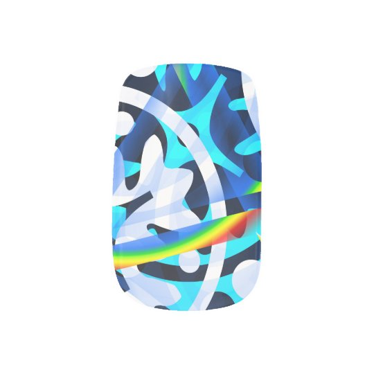 Abstract blue  colourful shapes cute nail art