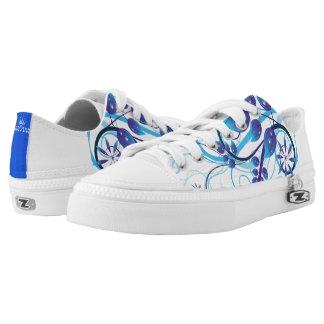 Abstract Blue Design Low-Top Sneakers