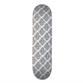 Abstract Blue Diamond Pattern Skate Deck