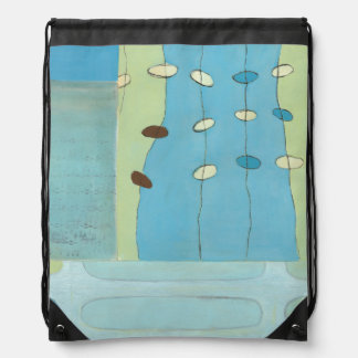 Abstract Blue Egg Parade Cinch Bags