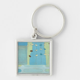 Abstract Blue Egg Parade Silver-Colored Square Keychain