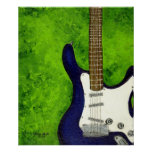 Abstract  blue electric guitar w/green background poster