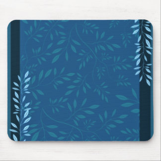 Abstract Blue floral leaves Mouse Pad