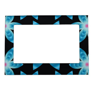 Abstract Blue Floral Pattern Frame Magnets