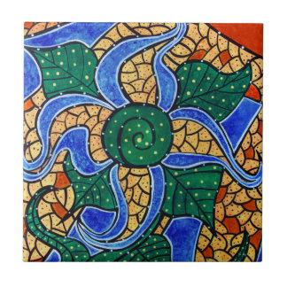 Abstract Blue Flower Ceramic Art Tile