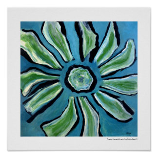 Abstract Blue Flower Painting Home Decor Poster