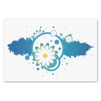 Abstract Blue Flower Tissue Paper