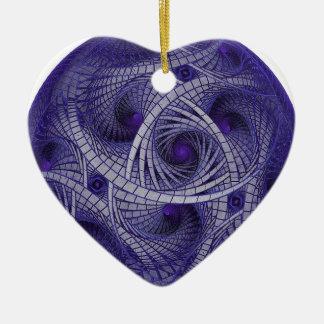 Abstract blue fractal ball artwork sphere shaped ceramic heart ornament