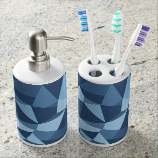 Abstract blue geometric shapes toothbrush holders