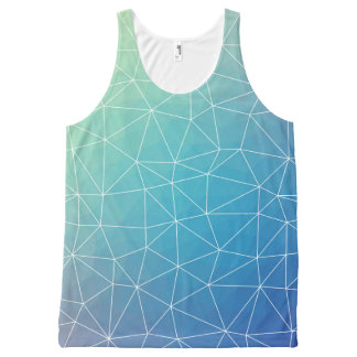 Abstract Blue Geometric Triangulated Design All-Over-Print Tank Top