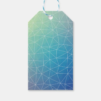 Abstract Blue Geometric Triangulated Design Gift Tags