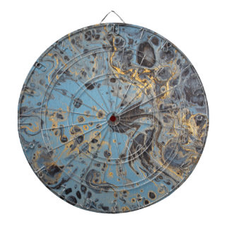 Abstract Blue & Gold Dartboard