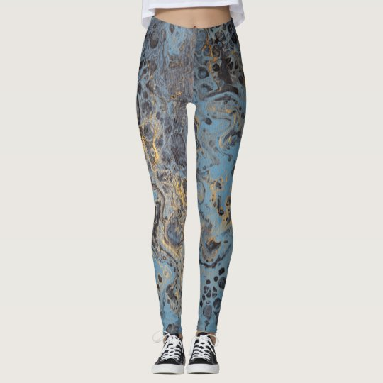 Abstract Blue & Gold Leggings
