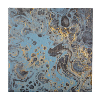 Abstract Blue & Gold Tile