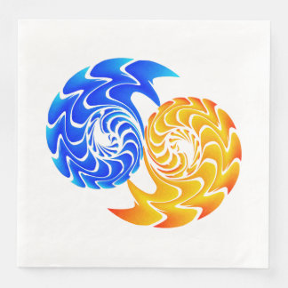 Abstract Blue Gold Yin Yang Fishes Balance Paper Dinner Napkin